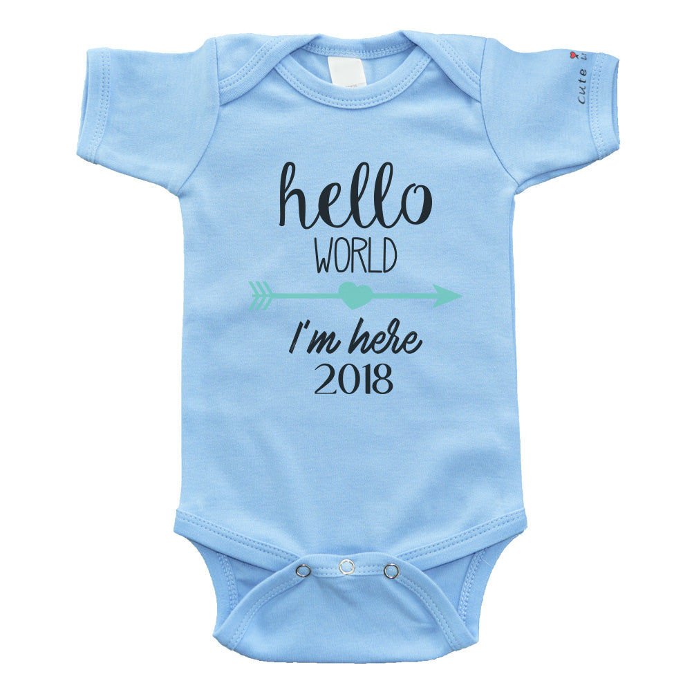 Cute In Hello World Baby Bodysuit / 2018 Baby