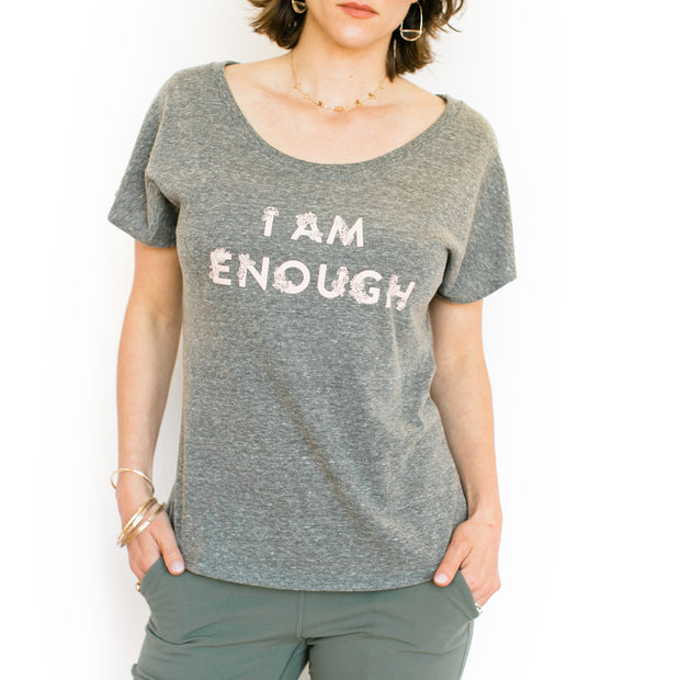 I Am Enough T-Shirt - Grey with Pink