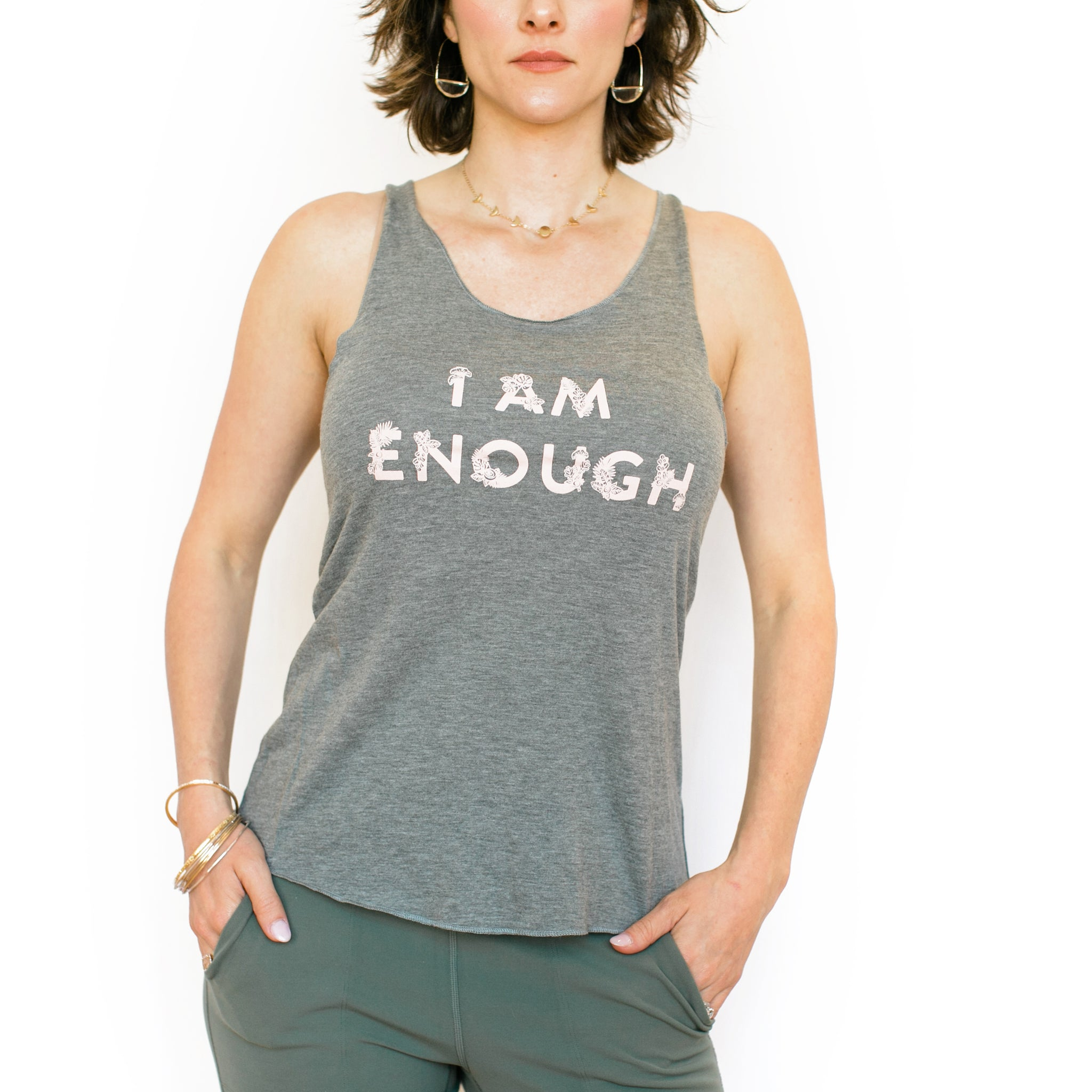 I Am Enough Tank - Grey with Pink