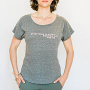 Everything Is Always Working Out For Me T-Shirt - Grey with Pink