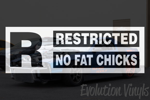 Restricted No Fat Chicks V1 Decal