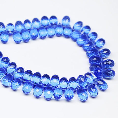 Tanzanite Quartz Faceted Tear Drop Briolette Beads, 10 beads, 10x5mm, SKU7748A - Jewels Exports