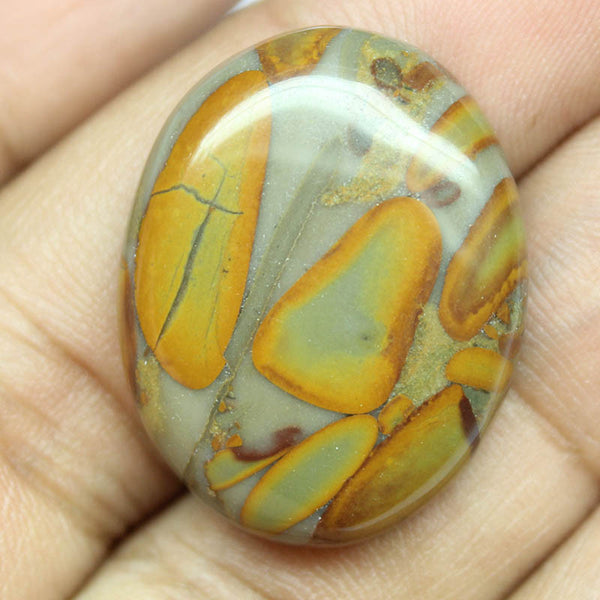 36.85ct, 28x22x7mm, Fruit Jasper 100% Natural Loose Cabochon Gemstone - Jewels Exports