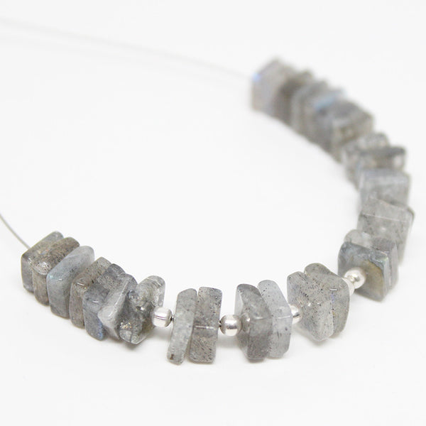 Grey Labradorite Smooth Polished Heishi Cube Beads Strand, 3 Inches, 5mm, SKU10120R - Jewels Exports