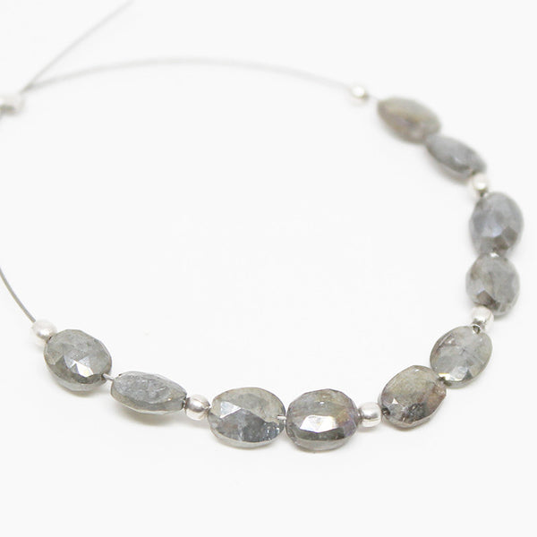 Natural Silver Coated Pyrite Micro Faceted Oval Beads Strand, 2 Inches, 5-6mm, SKU10123R - Jewels Exports