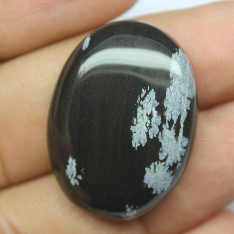 36ct, 30x22x7.5mm, Snowflake Obsidian 100% Natural Loose Cabochon Gemstone - Jewels Exports