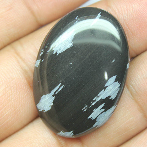 35.25ct, 35x24x6mm, Snowflake Obsidian 100% Natural Loose Cabochon Gemstone - Jewels Exports
