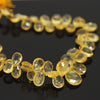 Golden Citrine Faceted Pear Drops Briolette - 9 inches - 9mm - 12mm - Jewels Exports - 1