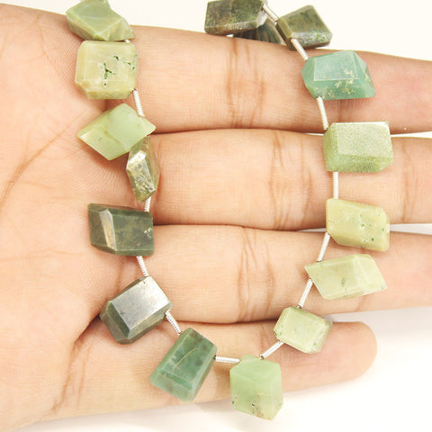 Green Jasper 3d Box Geometry Beads Strand - 8 inches - 15mm - 16mm - Jewels Exports - 1