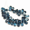 London Blue Topaz Micro Cut Tear Drop Briolette Bead - 7mm - 8mm - 6 Pc - Jewels Exports - 2