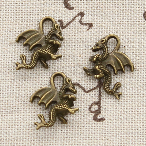 10 Chinese Dragon Charm Pendant 21mm x 14mm - Jewels Exports