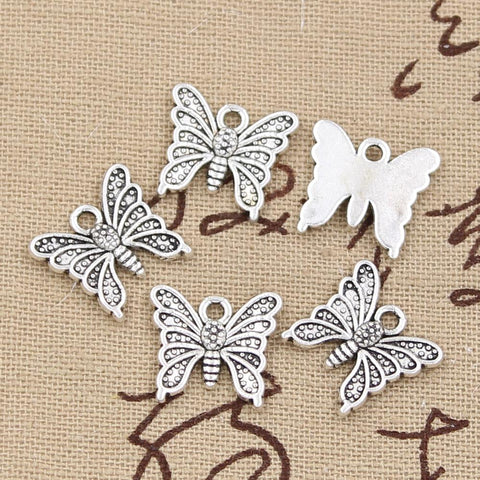 12 Butterfly Charm Pendant 15mm x 14mm - Jewels Exports