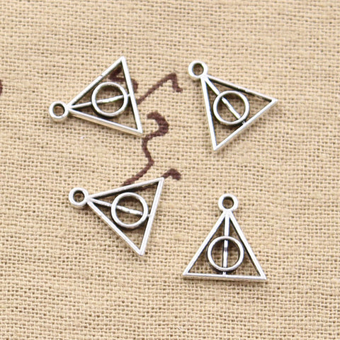 12 Deathly Hallows Triangle Charm Pendant 13mm x 12mm - Jewels Exports