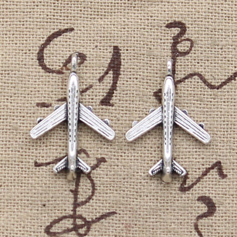 12 Airplane Plane Charm Pendant 22mm x 14mm - Jewels Exports
