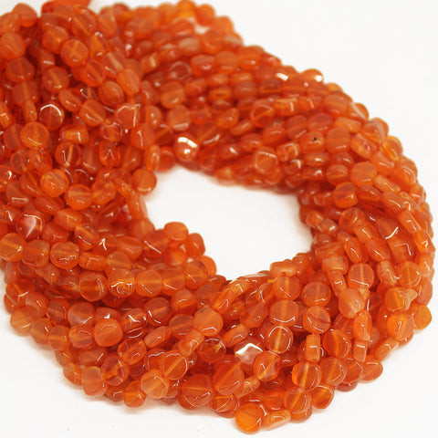 Natural Orange Carnelian Smooth Coin Beads Strand - 14 inches - 6mm - 7mm - Jewels Exports - 1