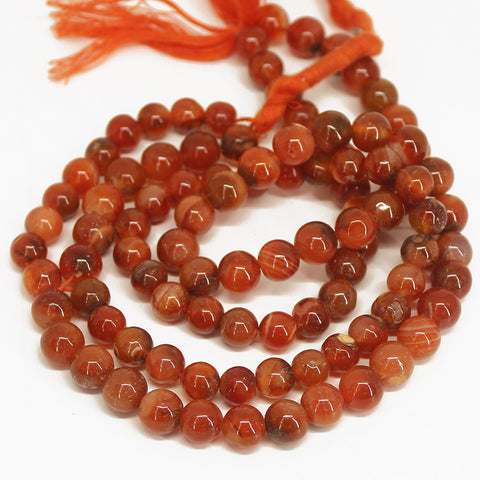 Carnelian Smooth Polished Round Ball Beads - 14 inches - 7mm - Jewels Exports - 1