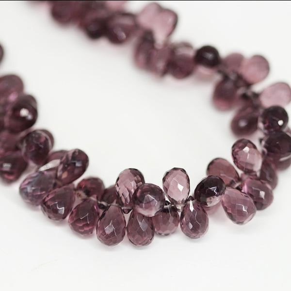 Purple Amethyst Quartz Faceted Tear Drop Briolette Beads - 8 inches - 10mm - Jewels Exports - 1