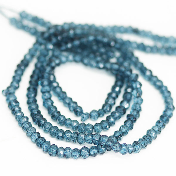 London Blue Topaz Quartz Faceted Rondelle Beads - 13 inches - 3.5mm - Jewels Exports - 1
