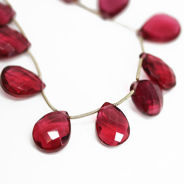 Red Quartz Faceted Checker Pear Drops Briolette Beads - 9 inches - 17x12mm - Jewels Exports - 1