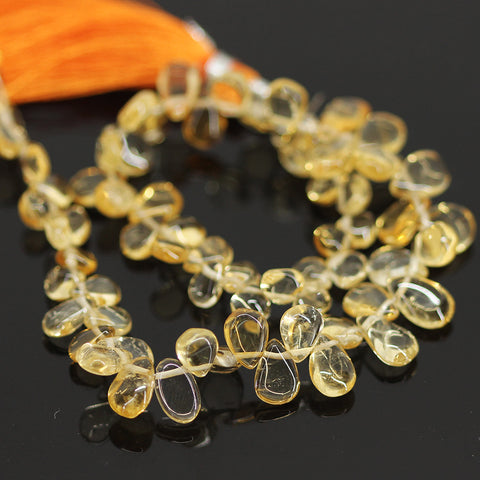 Yellow Citrine Smooth Pear Drops Briolette - 10 inches - 4mm - 9mm - Jewels Exports - 1