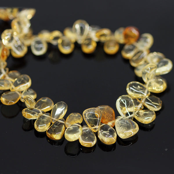 Golden Citrine Smooth Pear Drops Briolette - 9.5 inches - 5mm - 14mm - Jewels Exports - 1