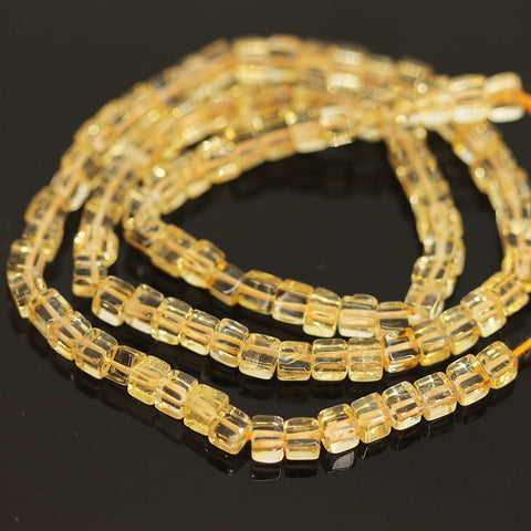 Golden Citrine Smooth Polished Box Loose Beads - 16 inches - 4mm - Jewels Exports - 1