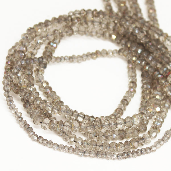 Rainbow Mystic Smoky Quartz Faceted Oval Beads Strand - 13 Inches - 4mm - Jewels Exports - 1