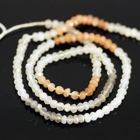 Multi Moonstone Faceted Rondelle Loose Beads Strand - 14 inches - 3.5mm - Jewels Exports - 1