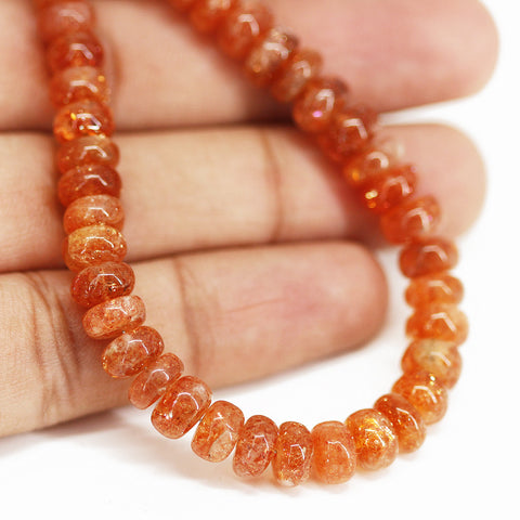 Sunstone Smooth Polished Rondelle Loose Beads Strand - 14 inches - 6mm - 7mm - Jewels Exports - 1