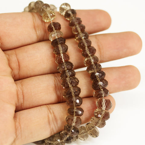 Smoky Quartz Faceted Rondelle Loose Beads - 8 inches - 6mm - 9mm - Jewels Exports - 1