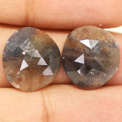 22.5ct Natural Grey Sapphire Untreated Rose Cut Beautiful Matching Pair - Jewels Exports