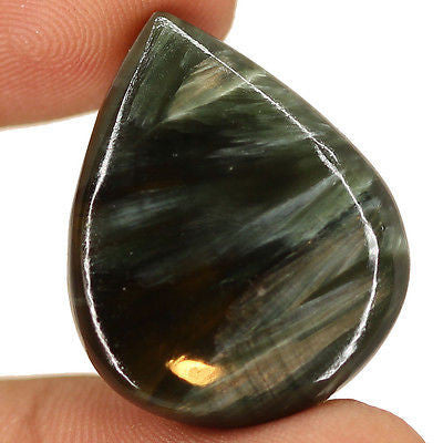 27.4cts Natural Black Seraphinite Cabochon Loose Gemstone Gorgeous - Jewels Exports
