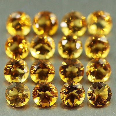 11.88ct Brandy Citrine Round Brilliant 16pc Loose Gemstone Wholesale Lot - Jewels Exports