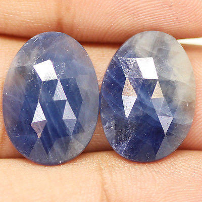 17.5ct Natural Blue Sapphire Rose Cut Stunning Matching Pair - Jewels Exports