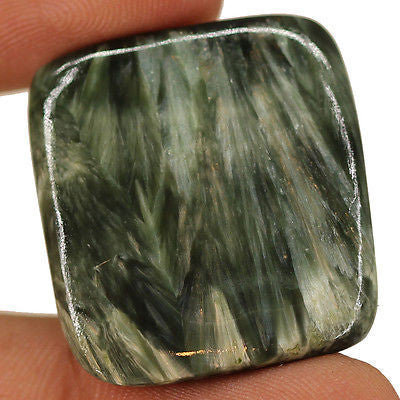 35cts Natural Black Seraphinite Cabochon Loose Gemstone A+ Quality - Jewels Exports