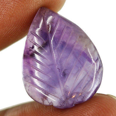 19.5ct Natural Purple Amethyst Carving Loose Gemstone Pear Beautiful Cabochon - Jewels Exports
