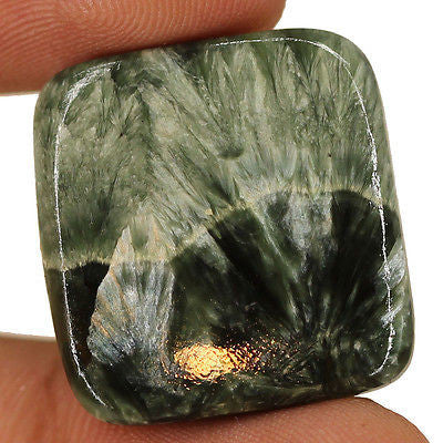 25.15cts Natural Black Seraphinite Cabochon Loose Gemstone Wonderful - Jewels Exports