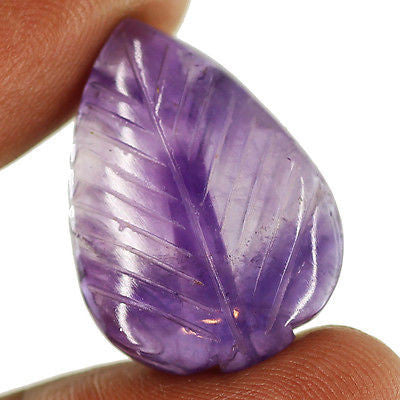 28.5ct Natural Purple Amethyst Carving Loose Gemstone Pear Stunning Cabochon - Jewels Exports