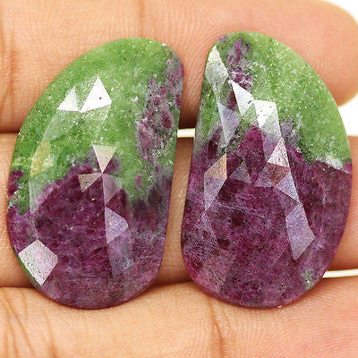 54ct Natural Ruby Zoisite Untreated Rose Cut Designer Matching Pair - Jewels Exports