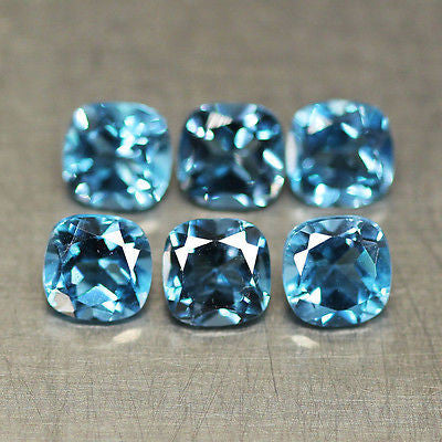 7.4cts Natural London Blue Topaz Cushion Loose Gemstone 3 Matching Pair - Jewels Exports