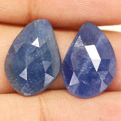 14ct Natural Blue Sapphire Rose Cut Designer Matching Pair - Jewels Exports