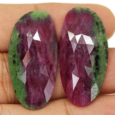 54ct Natural Red Ruby Zoisite Untreated Rose Cut Aaa Matching Pair - Jewels Exports
