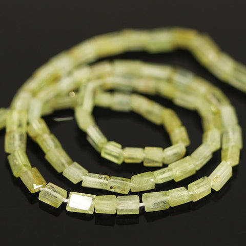 Green Tourmaline Faceted Tube Beads Strand - 14 Inches - 3mm - 5mm - Jewels Exports - 1