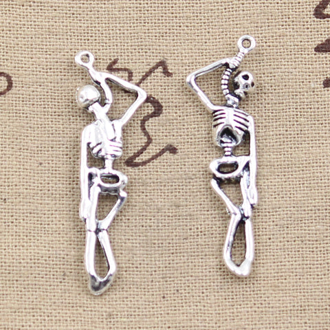 6 Hanging Skeleton Charm Pendant 42mm x 8mm - Jewels Exports