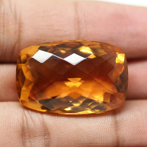 Citrine Quartz Hydro Faceted Rectangle Gemstone Bead, 53.70ct, 30x26x14mmm, SKU8680R - Jewels Exports