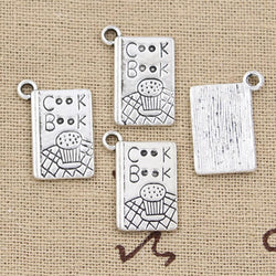 8 Cook Recipe Book Charm Pendant 17mm x 11mm