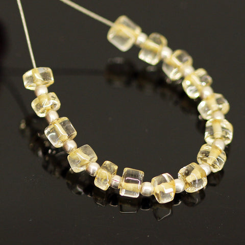 Yellow Citrine Smooth Polished Wheel Beads Strand - 15 beads - 4mm - Jewels Exports - 1