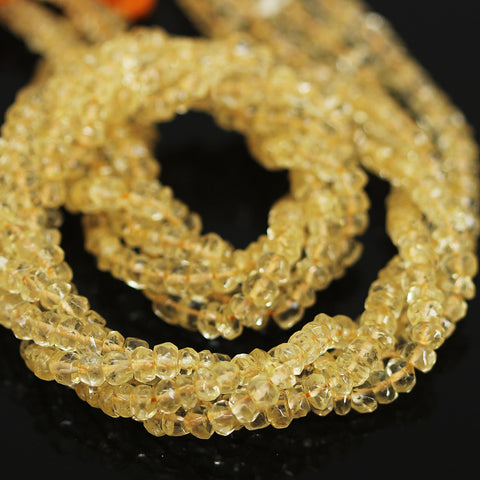 Natural Yellow Citrine Faceted Rondelle Beads Strand - 13 inches - 4mm - Jewels Exports - 1