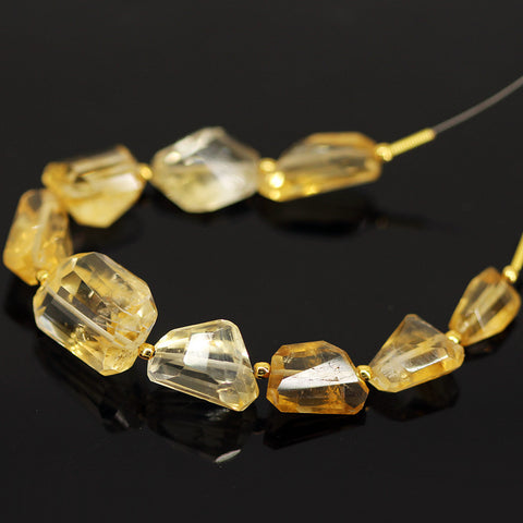 Golden Citrine Step Cut Tumble Loose Beads - 9 beads - 11mm - 17mm - Jewels Exports - 1