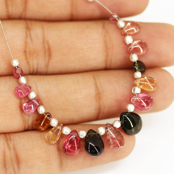 Multi Tourmaline Smooth Pear Drop Briolette Beads Strand - 15 beads - 4mm - 9mm - Jewels Exports - 1